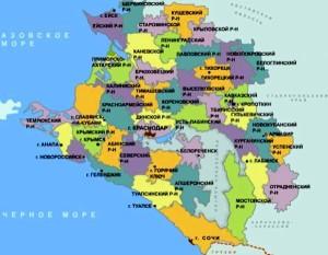 границы Краснодарского края на карте